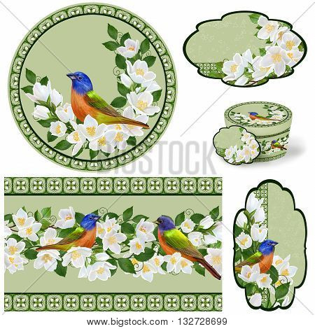 Set for packaging. Box round. Label.decoupage. Floral background. Flower border. Pattern. Mosaic.The bright bird on a branch of a blooming white jasmine in the spring.