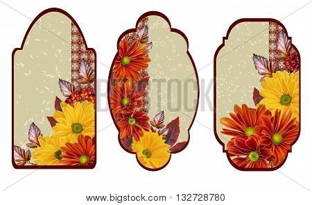 Set labels. Card invitation business card. Flower pattern. Chrysanthemum flowers. The composition of orange and yellow chrysanthemums. Autumn colorful leaves.
