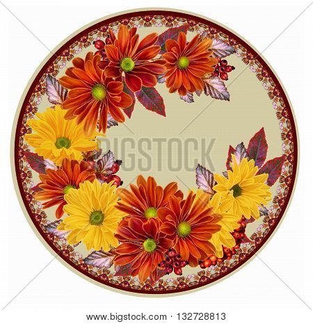 Chrysanthemum flowers. The composition of orange and yellow chrysanthemums. Autumn colorful leaves circle round shape.