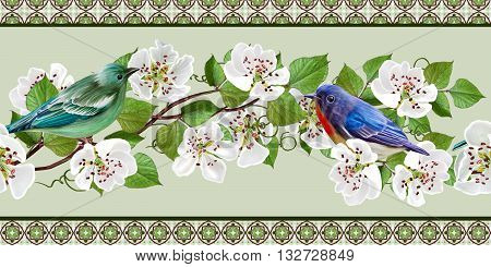Floral border horizontall. White flowers. Sinii birds. Blooming trees. Spring flowering.