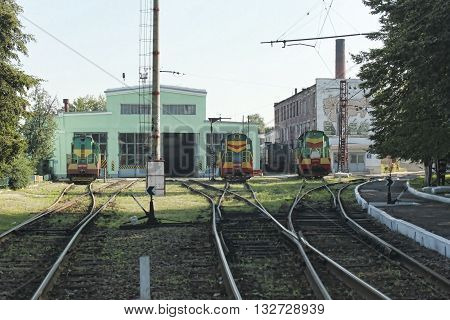 SLOVIANSK UKRAINE - AUGUST 1 2010: Locomotive depot Slovyansk. Three shunting locomotives ready to move