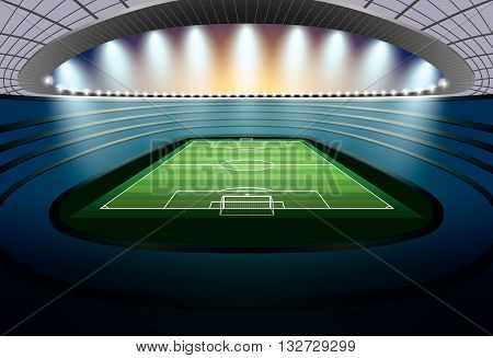 Soccer Stadium with spot light. Football Stadium. Soccer arena.