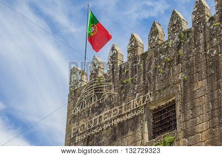 PONTE DE LIMA, PORTUGAL - APRIL 24, 2016: Castle on the boulevard of Ponte de Lima, Portugal