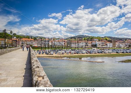 PONTE DE LIMA, PORTUGAL - APRIL 24, 2016: Bridge and boulevard of Ponte de Lima, Portugal