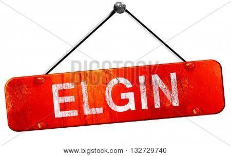 elgin, 3D rendering, a red hanging sign