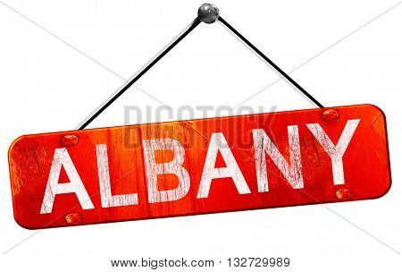 albany, 3D rendering, a red hanging sign