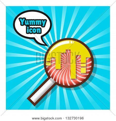 Swirl lollipop on blue background. Vector illustration