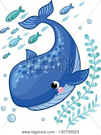 Cartoon young whale surrounded by small sea fish seaweed and air bubbles. Vector illustration in cartoon style for summer sea theme.