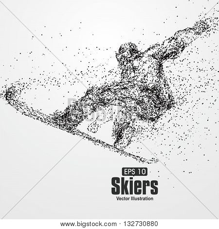 Skiers,particle divergent composition,The moral of hard work ahead,vector illustration.