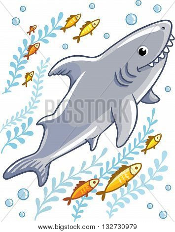 Cartoon shark in the sea surrounded by little fish. Vector illustration in cartoon style for summer sea theme.