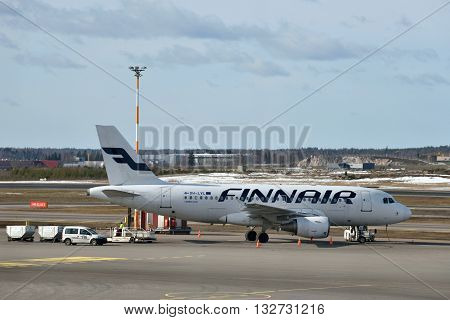 HELSINKI FINLAND - MAR 17: Finnair Airbus A319 in Helsinki International Airport on March 17 2016 in Helsinki Finland. Finnair is the flag carrier and largest airline of Finland.