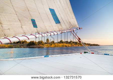 Detail of felucca, traditional wooden sailboat on Nile, Egypt.