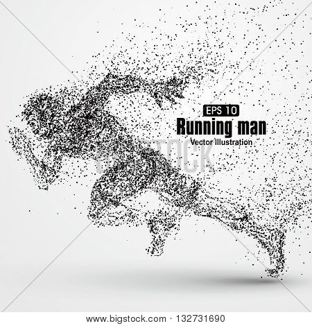 Running Man,particle divergent composition,The moral of hard work ahead,vector illustration.