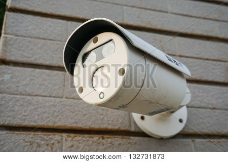 Close up the CCTV camera installed outdoor