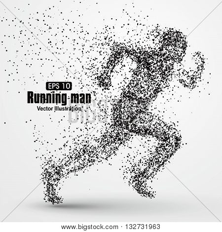 Running Man,particle divergent composition,The moral of hard work ahead, vector illustration.