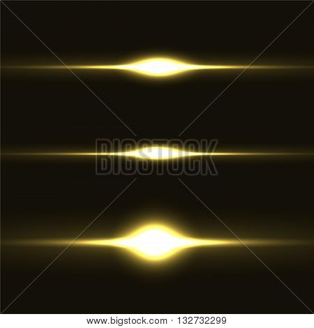 Collection of realistic light glare, highlight. Collection of beautiful bright lens flares. Lighting effects of flash.