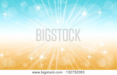 Spring Fun background.A blue and brown exploding Spring fun burst background.