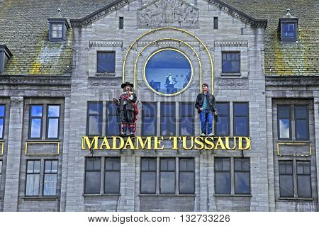 AMSTERDAM, NETHERLANDS - MAY 3, 2016: Madame Tussaud wax museum in Amsterdam, Netherlands. It is a major tourist attraction in Amsterdam displaying waxworks of famous figures.