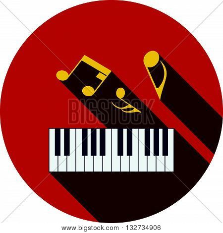 Flat Design Icon Of Piano Keyboard In Ui Colors