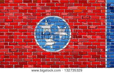 Flag of Tennessee on a brick wall - Illustration,  The flag of the state of Tennessee on brick textured background,  Tennessee flag in brick style