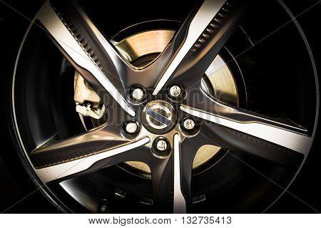 close up of new aluminum alloy wheel