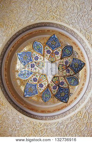 Chandelier inside Sheikh Zayed Mosque Abu Dhabi United Arab Emirates April 7 2014