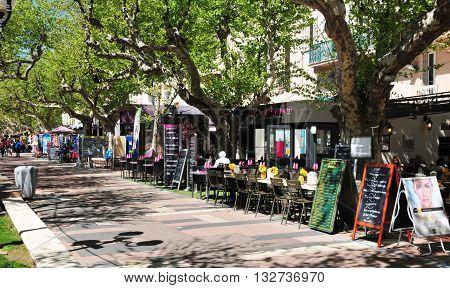 Saint Raphael; France - april 14 2016 : restaurant in the seaside street