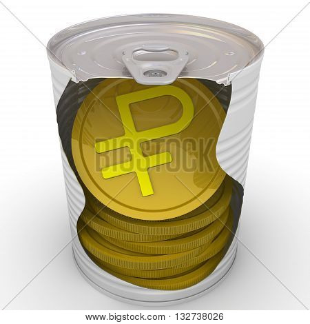 Coins in a tin. Gold coins with the symbol of the Russian ruble inside a tin can. Cash reserve funds. Isolated. 3D Illustration