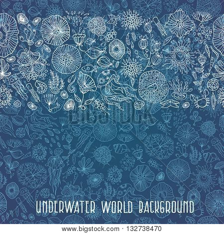underwater life with abstract sea creatures vector