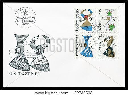 LIECHTENSTEIN - CIRCA 1966 : First day cover letter printed by Liechtenstein, that shows Coat of arms.