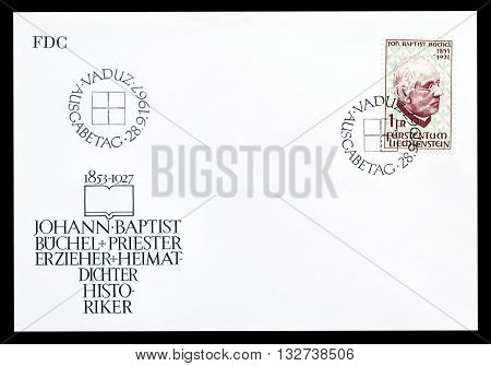 LIECHTENSTEIN - CIRCA 1967 : First day cover letter printed by Liechtenstein, that shows Johann Baptist  Buchel.