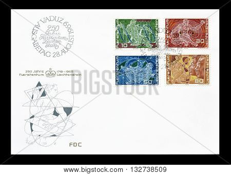LIECHTENSTEIN - CIRCA 1969 : First day cover letter printed by Liechtenstein, that promote science.