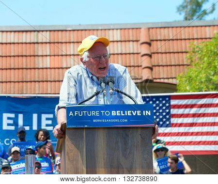 Fairfield CA - June 03 2016: With California's primary election three days away Bernie Sanders speaks at an outdoor rally at Solano Community College in Fairfield California.