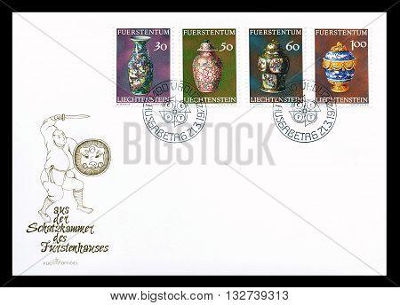 LIECHTENSTEIN - CIRCA 1974 : First day cover letter printed by Liechtenstein, that shows Old pottery vases.