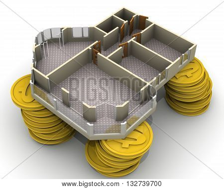 Apartment project lies on a pile of coins with a U.S. dollar symbol on a white surface. Isolated. 3D Illustration