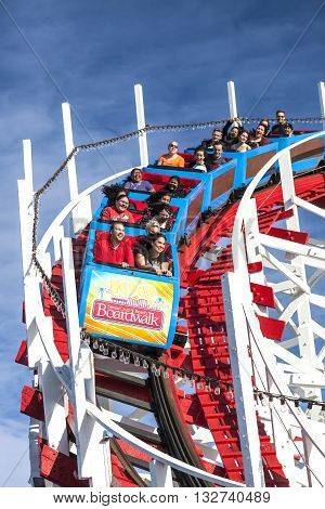People On Giant Dipper Roller Coaster, Santa Cruz, California