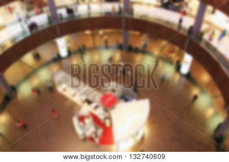 Shopping Center I Mall, Top View Inside, Boutiques And People Make Purchases,