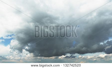 dramitic clouds on blue sky, background of skies