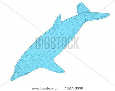Vector illustration of a dolphin. Polygonal coverage. Isolated.