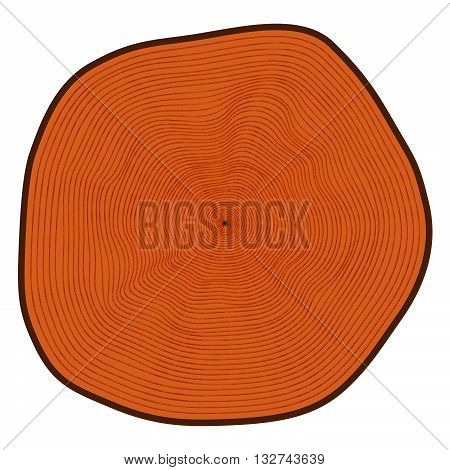 Vector illustration of a tree in a cut. A plurality of rings.