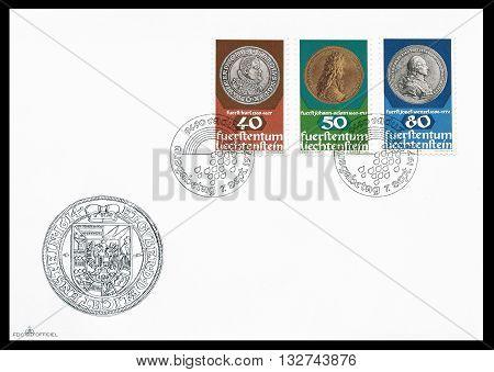 LIECHTENSTEIN - CIRCA 1978 : First day cover letter printed by Liechtenstein, that shows Old coins.