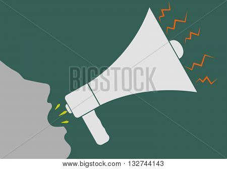 Vector illustration of a human head, a screaming into a megaphone.