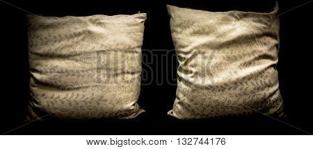 modern interior decorated vintage pillow on black background