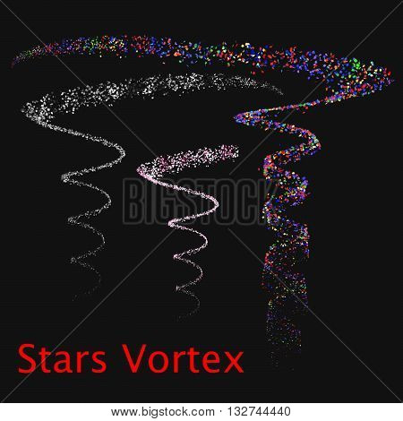 Set with vortices of colored stars. Vector illustration. EPS 8.