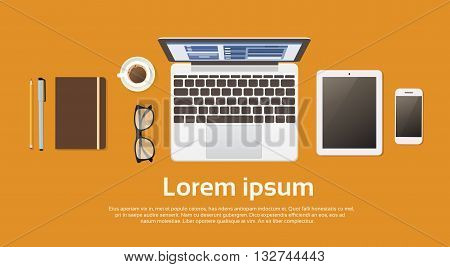 Workplace Desk Laptop Computer Tablet Cell Smart Phone Coffee Top Angle View Copy Space Flat Vector Illustration