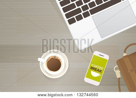 Workplace Desk Laptop Computer Cell Smart Phone Coffee Suitcase Top Angle View Copy Space Flat Vector Illustration