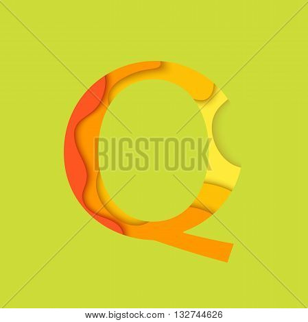 Letter Q design template element. Material design Character Q vector logo, icon and sign.