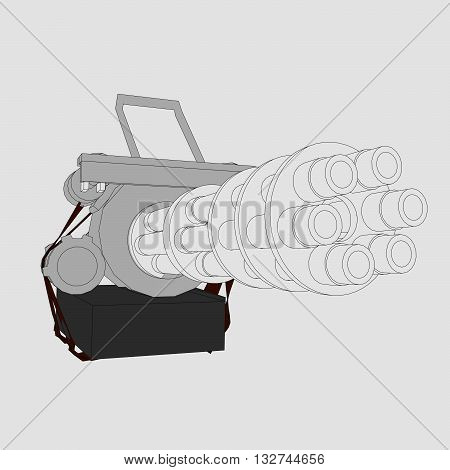 Vector illustration of a gun with six trunks. Isolated.