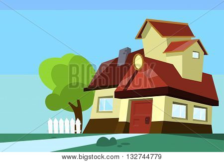 Big Modern House Residence Estate With Garden Flat Vector Illustration