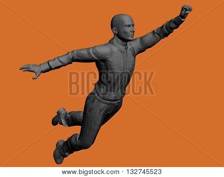 Vector illustration of a flying man. Polygon. Monument. Businessman makes a breakthrough.